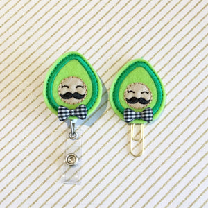 Avocado Badge Reel, Planner Clip, ID Holder, Magnet, Brooch Pin, (59)