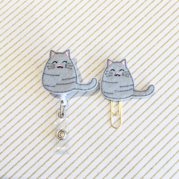 Cute Kitty Cat Badge Reel, Planner Clip, ID Holder, Magnet, Brooch Pin, (377)