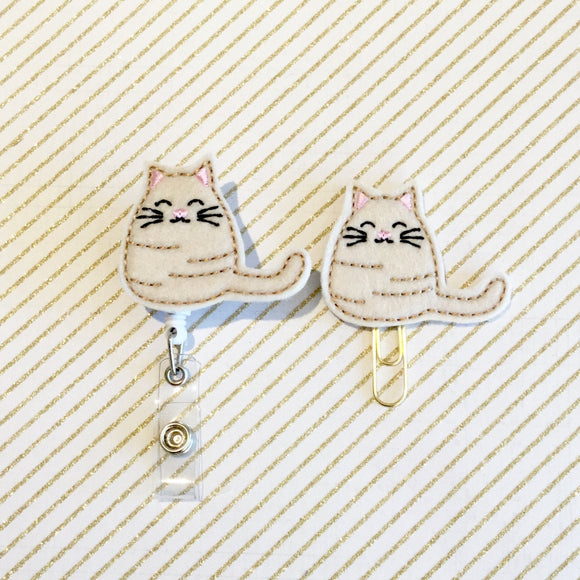 Cute Kitty Cat Badge Reel, Planner Clip, ID Holder, Magnet, Brooch Pin, (472)
