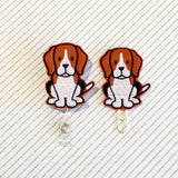 Beagle Dog Badge Reel, Planner Clip, ID Holder, Magnet, Brooch Pin, (894)