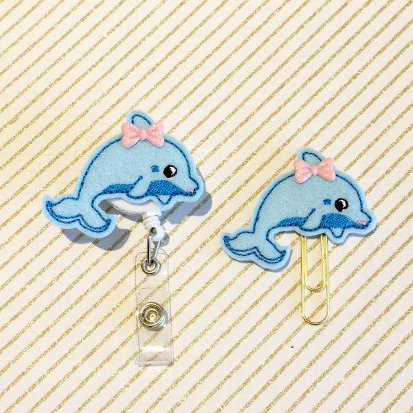 Dolphin Badge Reel, Planner Clip, ID Holder, Magnet, Brooch Pin, (497)
