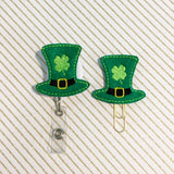 St Patricks Day Leprechaun Hat Badge Reel, Planner Clip, ID Holder, Magnet, Brooch Pin, (1150)