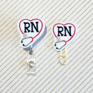 Nurse RN Badge Reel, Planner Clip, ID Holder, Magnet, Brooch Pin, (920)