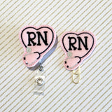 Nurse RN Badge Reel, Planner Clip, ID Holder, Magnet, Brooch Pin, (993)