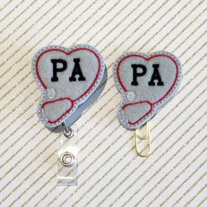 PA Physicians Assistant Badge Reel, Planner Clip, ID Holder, Magnet, Brooch Pin, (918)