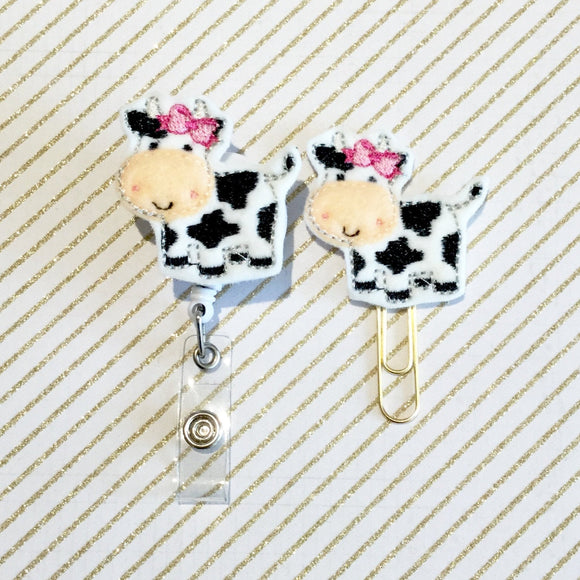 Cow Planner clip l Badge Reel ID Holder l Magnet l Brooch Pin l Paper Clip For Planners | ID Lanyard | (1087)