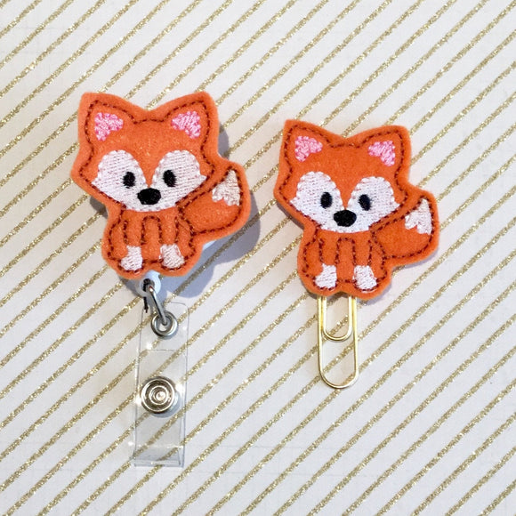 Fox Badge Reel, Planner Clip, ID Holder, Magnet, Brooch Pin, (547)
