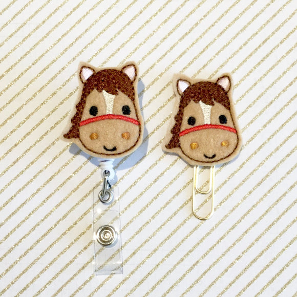 Horse Pony Badge Reel, Planner Clip, ID Holder, Magnet, Brooch Pin, (1075)