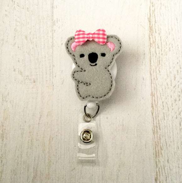 Koala Bear Badge Reel, Planner Clip, ID Holder, Magnet, Brooch Pin, (449)