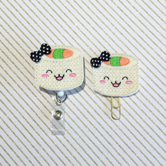 Sushi Badge Reel, Planner Clip, ID Holder, Magnet, Brooch Pin, (233)