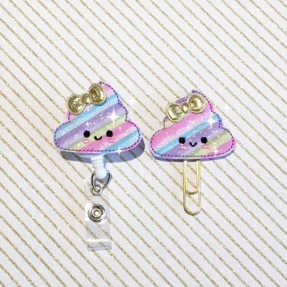 Unicorn Rainbow Poop Badge Reel, Planner Clip, ID Holder, Magnet, Brooch Pin,  (230)