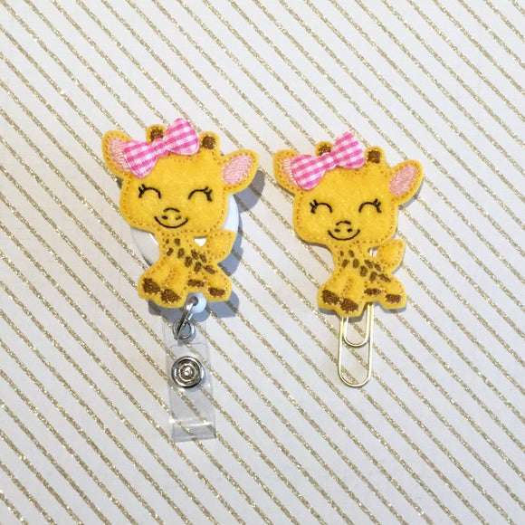 Giraffe Badge Reel, Planner Clip, ID Holder, Magnet, Brooch Pin, (255)