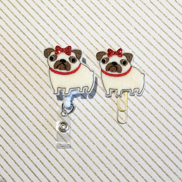 Pug Dog Badge Reel, Planner Clip, ID Holder, Magnet, Brooch Pin, (243)