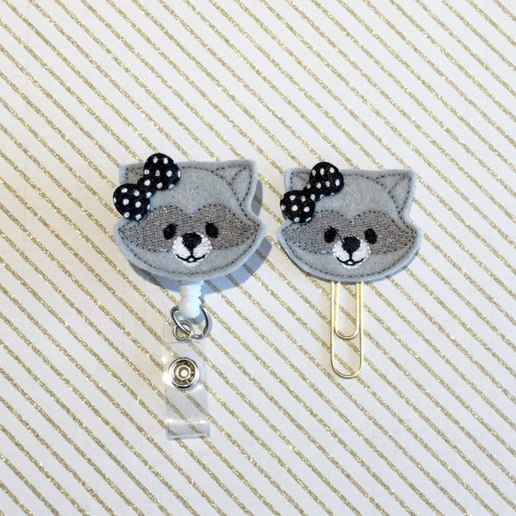 RaccoonBadge Reel, Planner Clip, ID Holder, Magnet, Brooch Pin,  (1022)