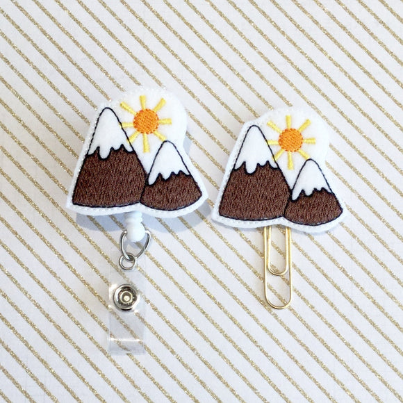 Mountains Badge Reel, Planner Clip, ID Holder, Magnet, Brooch Pin,  (283)