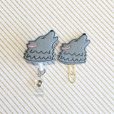 Wolf Badge Reel, Planner Clip, ID Holder, Magnet, Brooch Pin, (1079)