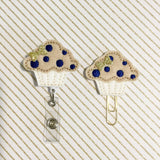 Muffin Badge Reel, Planner Clip, ID Holder, Magnet, Brooch Pin, (617)