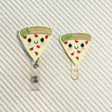 Pizza Slice Badge Reel, Planner Clip, ID Holder, Magnet, Brooch Pin, (455)