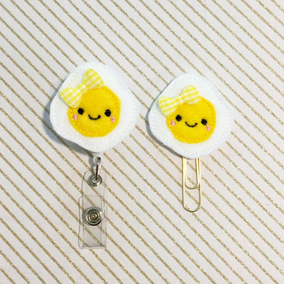 Fried Egg Badge Reel, Planner Clip, ID Holder, Magnet, Brooch Pin, (778)