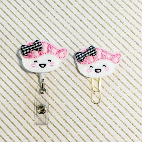 Sushi Badge Reel, Planner Clip, ID Holder, Magnet, Brooch Pin, (568)
