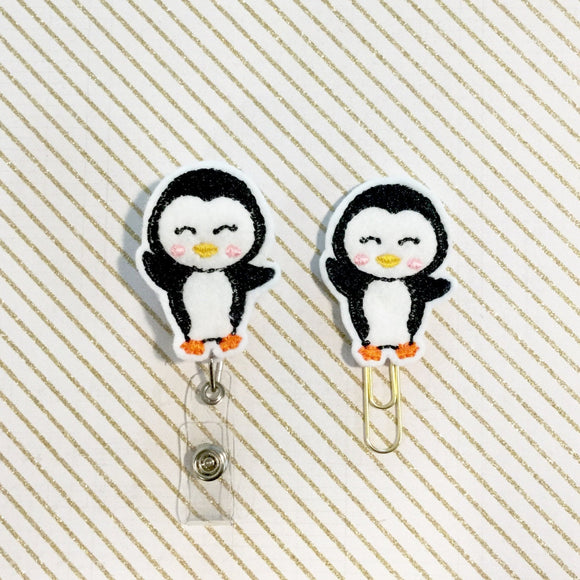 Penguin Badge Reel, Planner Clip, ID Holder, Magnet, Brooch Pin, (404)