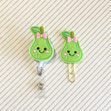Pear Fruit Badge Reel, Planner Clip, ID Holder, Magnet, Brooch Pin, (58)