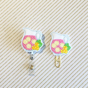 Pink Lemonade Badge Reel, Planner Clip, ID Holder, Magnet, Brooch Pin, (602)