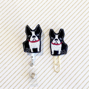 Boston Terrier Badge Reel, Planner Clip, ID Holder, Magnet, Brooch Pin, (618)