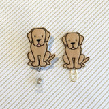 Golden Retriever Dog  Badge Reel, Planner Clip, ID Holder, Magnet, Brooch Pin, (909)