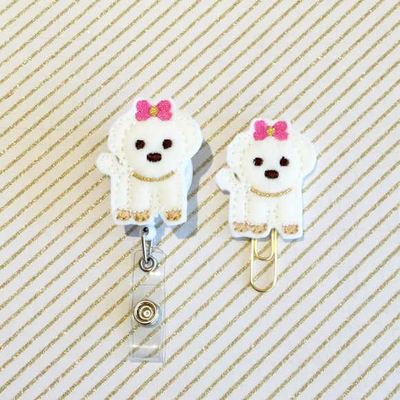 Maltese Puppy Dog Badge Reel, Planner Clip, ID Holder, Magnet, Brooch Pin, (195)