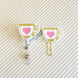 Cup of Tea Badge Reel, Planner Clip, ID Holder, Magnet, Brooch Pin, (601)
