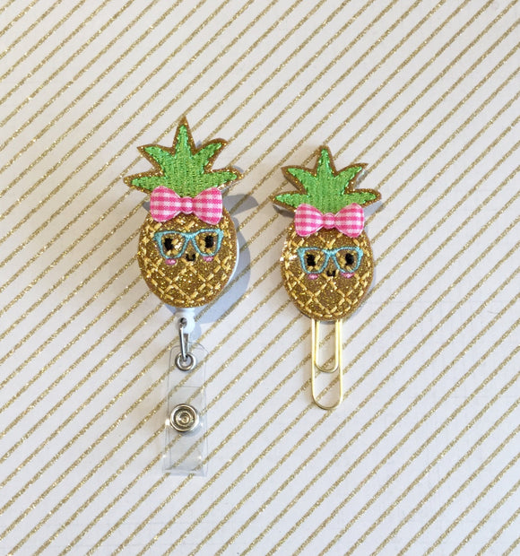 Glitter Pineapple Badge Reel, Planner Clip, ID Holder, Magnet, Brooch Pin, (488)