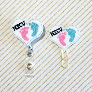 NICU Nurse Badge Reel, Planner Clip, ID Holder, Magnet, Brooch Pin, (915)