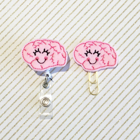 Brain Neurologist Badge Reel, Planner Clip, ID Holder, Magnet, Brooch Pin, (208)