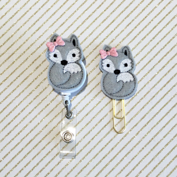 Fox Badge Reel, Planner Clip, ID Holder, Magnet, Brooch Pin, (328)