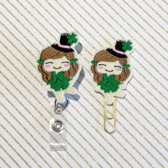St Patricks Day Leprechaun Girl Badge Reel, Planner Clip, ID Holder, Magnet, Brooch Pin, (355)