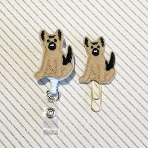 German Shepherd Dog Badge Reel, Planner Clip, ID Holder, Magnet, Brooch Pin, (140)