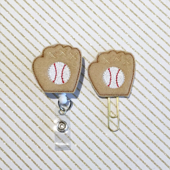 Baseball Glove Ball Badge Reel, Planner Clip, ID Holder, Magnet, Brooch Pin, (417)