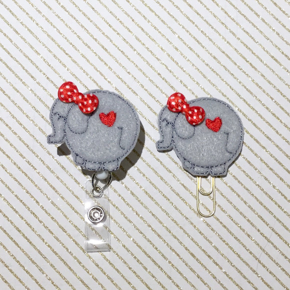 Elephant Badge Reel, Planner Clip, ID Holder, Magnet, Brooch Pin, (350)