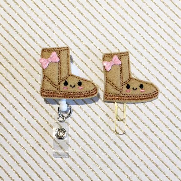 Winter Suede Boot Badge Reel, Planner Clip, ID Holder, Magnet, Brooch Pin, (300)