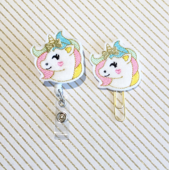 Unicorn Badge Reel, Planner Clip, ID Holder, Magnet, Brooch Pin, (661)