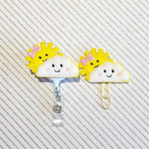 Sun Sunshine Badge Reel, Planner Clip, ID Holder, Magnet, Brooch Pin, (737)