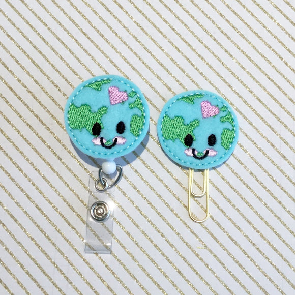 Happy Earth World Badge Reel, Planner Clip, ID Holder, Magnet, Brooch Pin,  (828)