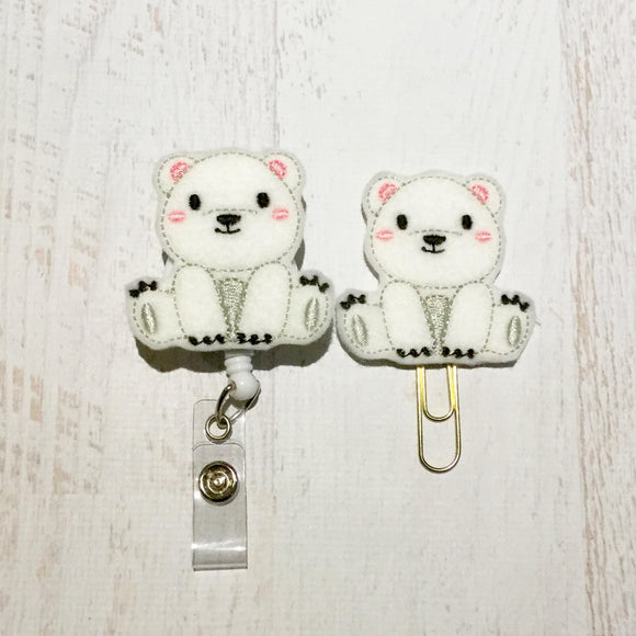 Polar Bear Badge Reel, Planner Clip, ID Holder, Magnet, Brooch Pin, (440)