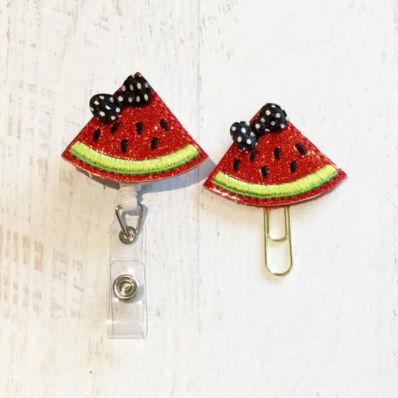 Glitter Watermelon  Badge Reel, Planner Clip, ID Holder, Magnet, Brooch Pin, (35)