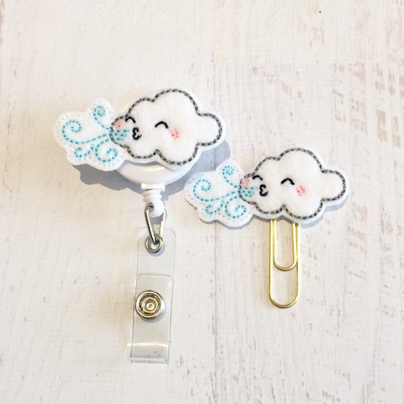 Weather Wind Cloud Badge Reel, Planner Clip, ID Holder, Magnet, Brooch Pin,  (736)