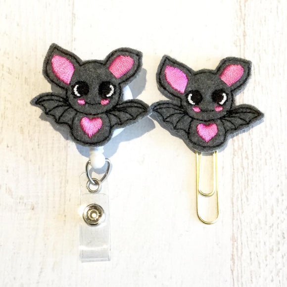 Bat Badge Reel, Planner Clip, ID Holder, Magnet, Brooch Pin, (108)