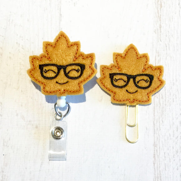 Fall Autumn Leaf Badge Reel, Planner Clip, ID Holder, Magnet, Brooch Pin, (103)