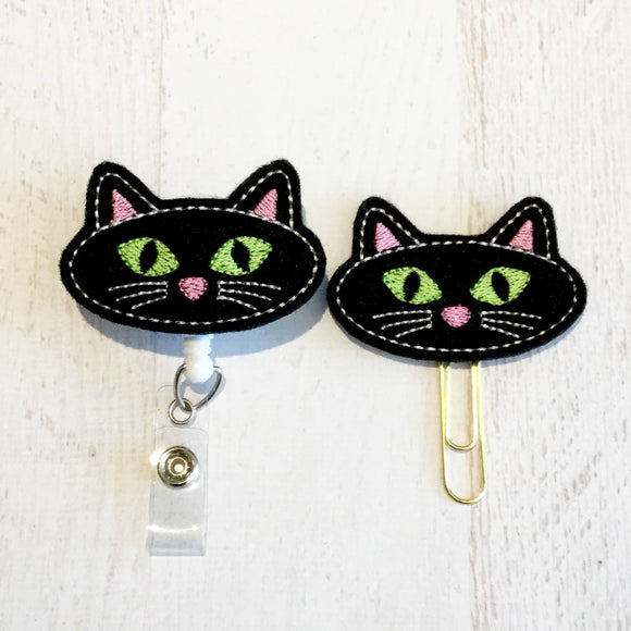 Halloween Cat Badge Reel, Planner Clip, ID Holder, Magnet, Brooch Pin, (506)
