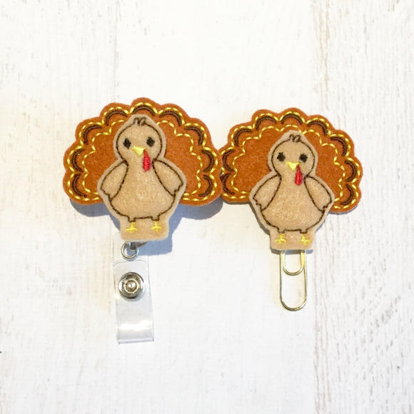 Thanksgiving Turkey Badge Reel, Planner Clip, ID Holder, Magnet, Brooch Pin, (817)